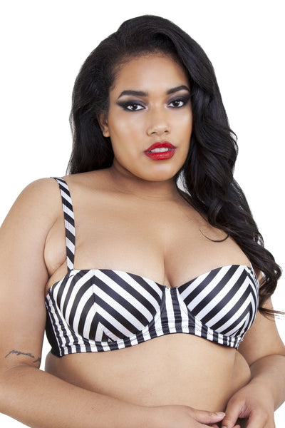 Beatrix Ivory Placement Stripe Demi Bra Curve