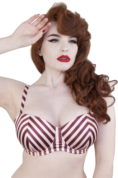 Beatrix Red Placement Stripe Demi Bra DD-I