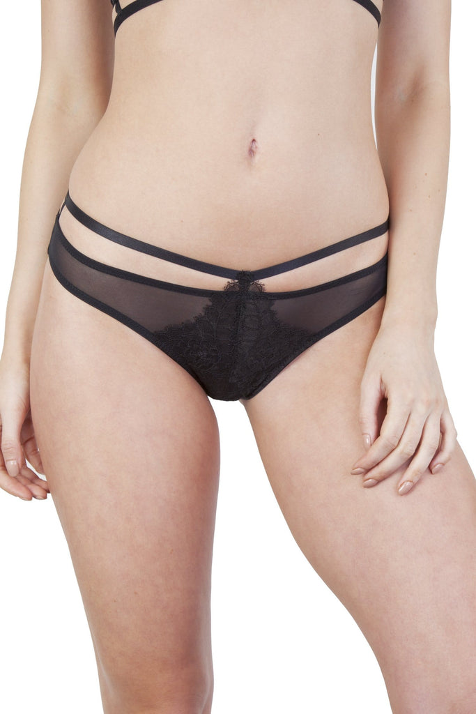 Peek & Beau Dora Rosedust Lace And Mesh Strappy Brief
