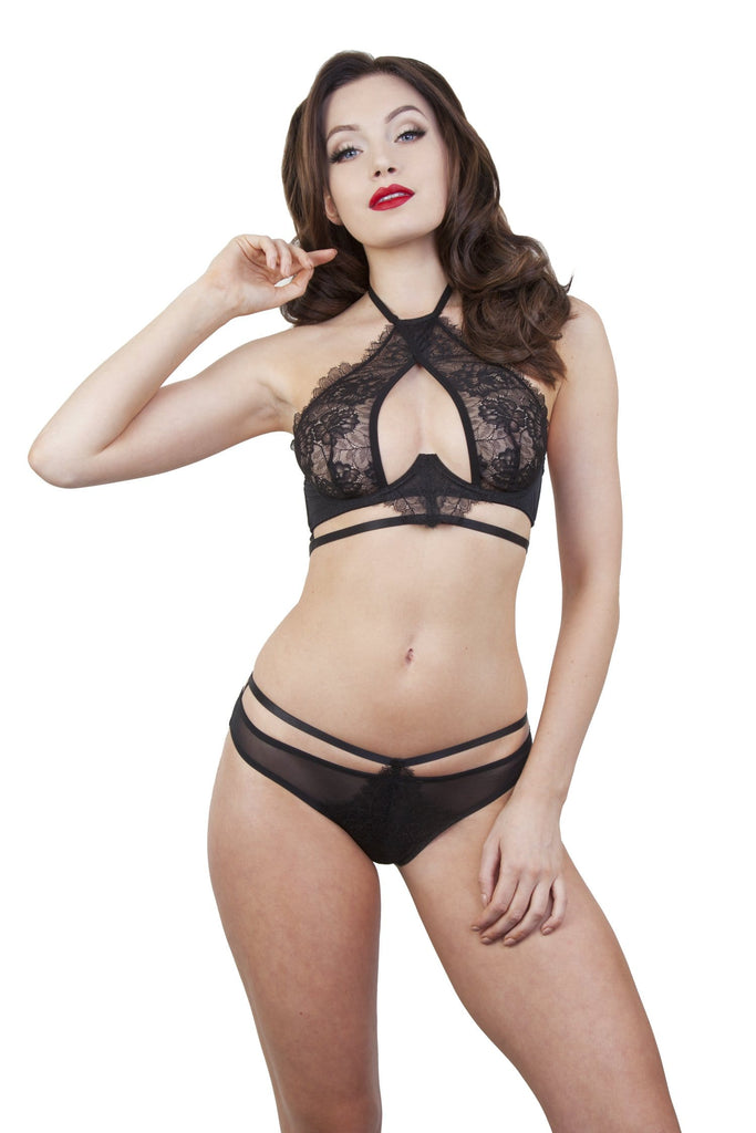 Peek & Beau Dora High Neck Rosedust Crossover Lace Bra
