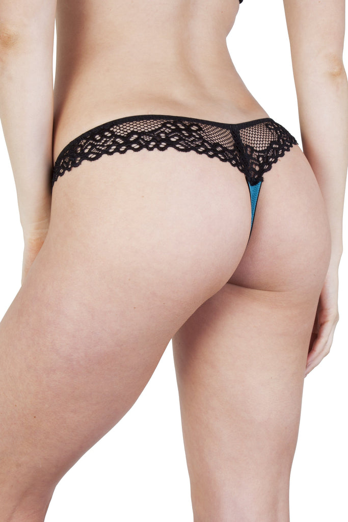 Peek & Beau Kay Teal and Black Lace Thong