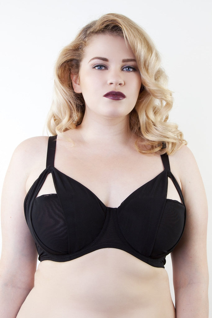 harness black bra strappy cut out mesh detachable plus size