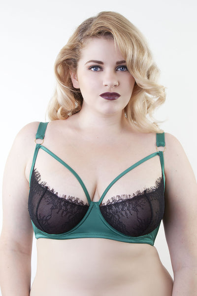black and green satin lace eyelash caged strappy harness bra plus size curve