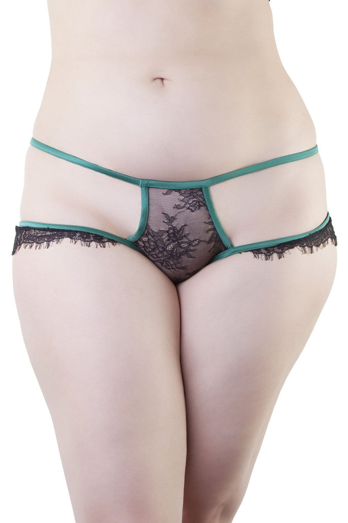 Tamara Forest Green Black Lace Brief Curve