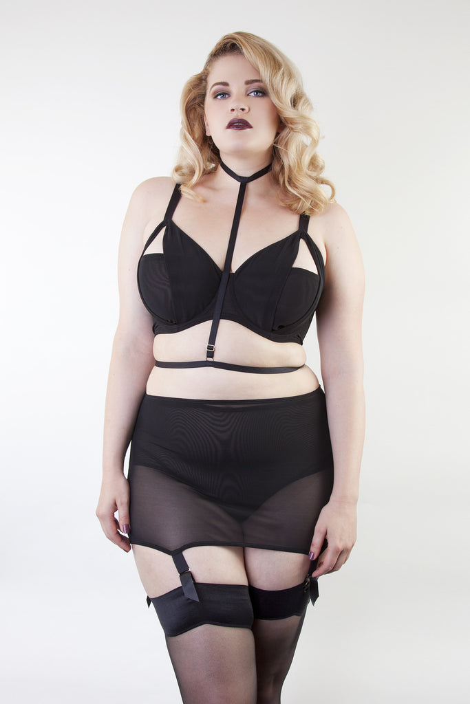 girdle plus size suspender belt shaping shaper black garter retro vintage