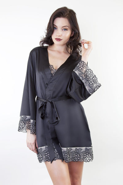 Black Embroidered Lace Satin Gown Dressing Robe Nightwear