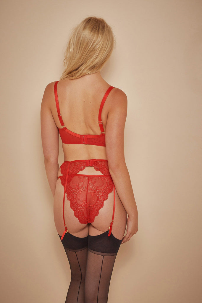 Wolf & Whistle Maribel Red Lace Suspender Belt