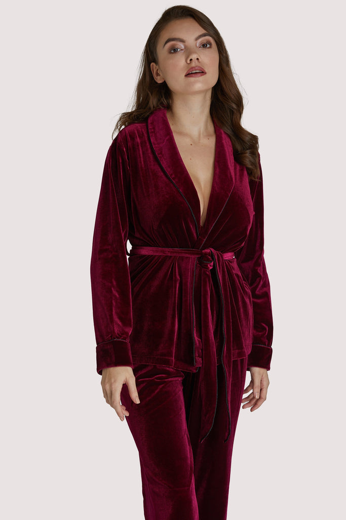 Playful Promises Velvet Wine Red Pyjama Set