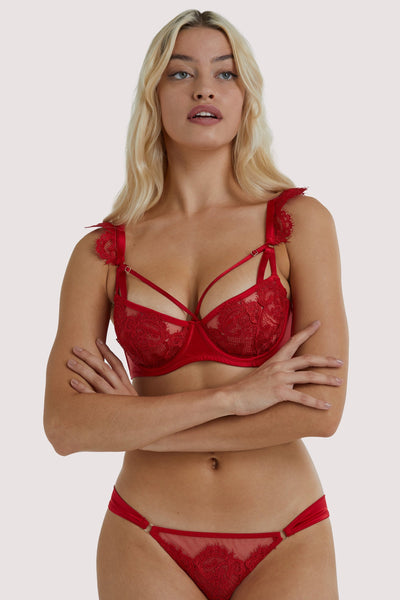 Playful Promises Anneliese Red Satin Net and Lace Bra