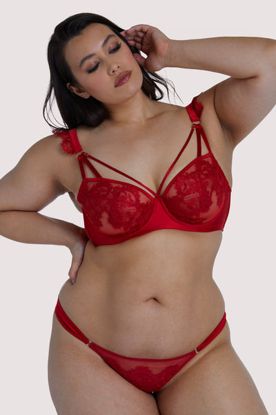 Playful Promises Anneliese Red Satin Net and Lace Bra Curve