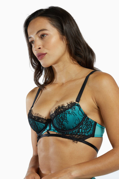 Playful Promises Henrietta Teal Lace Overlay Bra