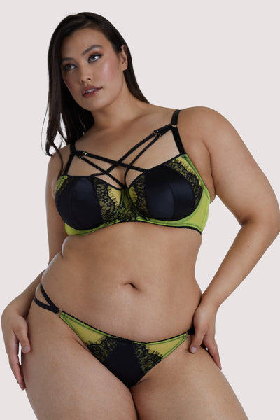 Playful Promises Indigo Lime Strappy Picot Plunge Bra Curve