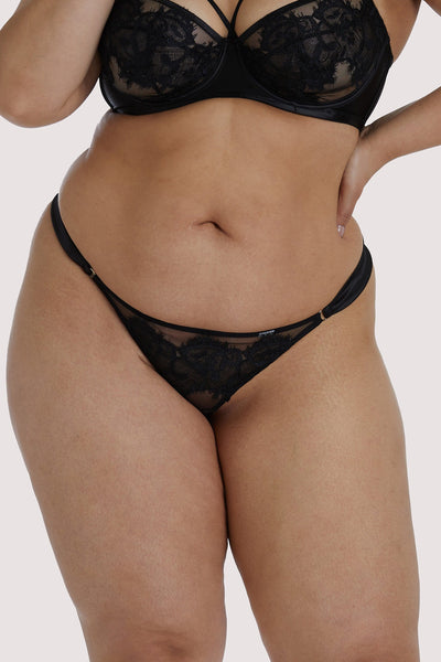 Playful Promises Anneliese Black Lace Curve Thong