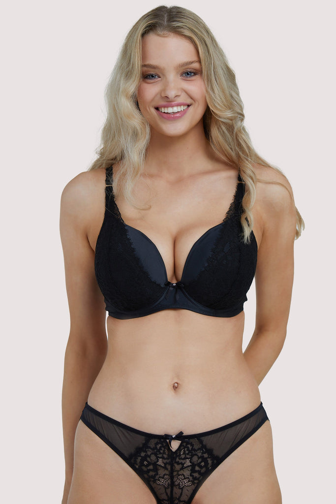 Deja Day Sophia Black Plunge & Push Up Bra