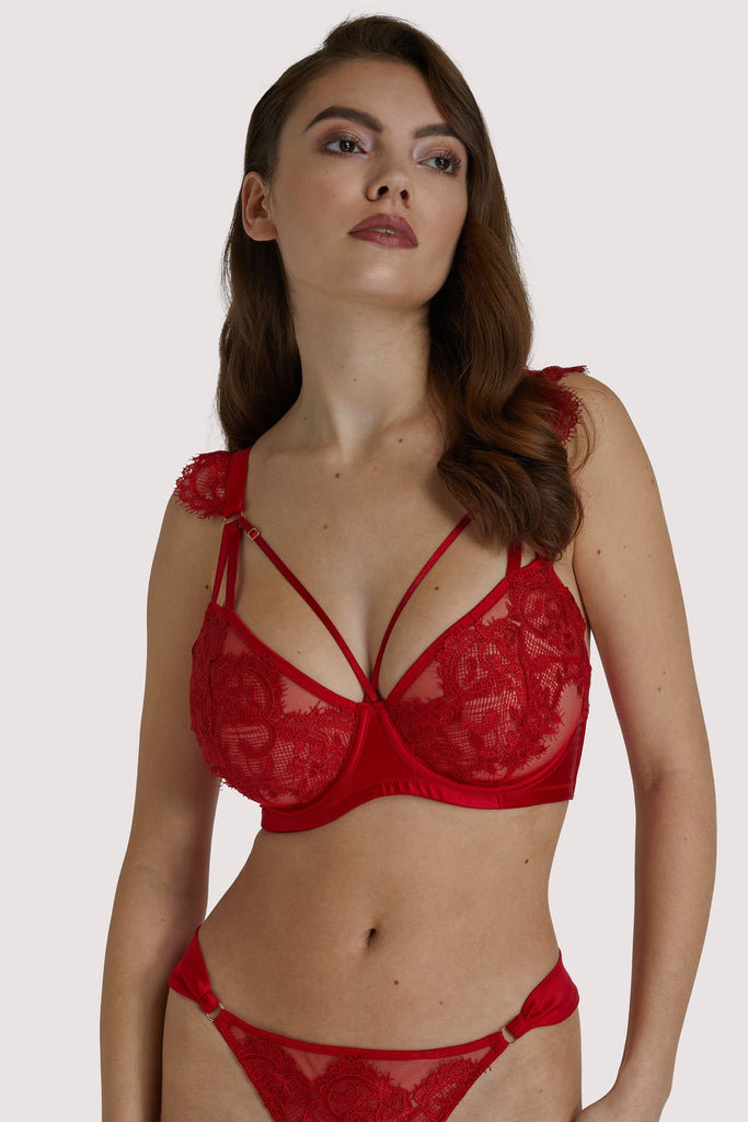 Playful Promises Anneliese Red Satin Net and Lace Bra Fuller Bust