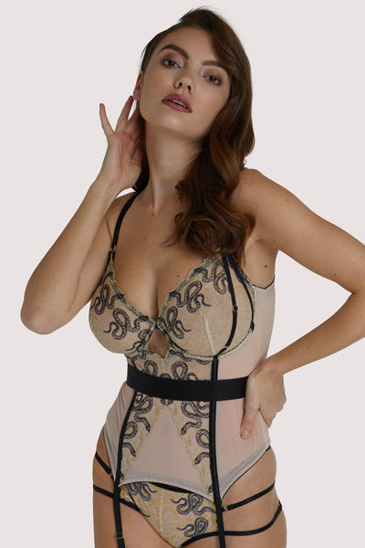 Dakota Snake Basque with Cut Out Front Full Bust