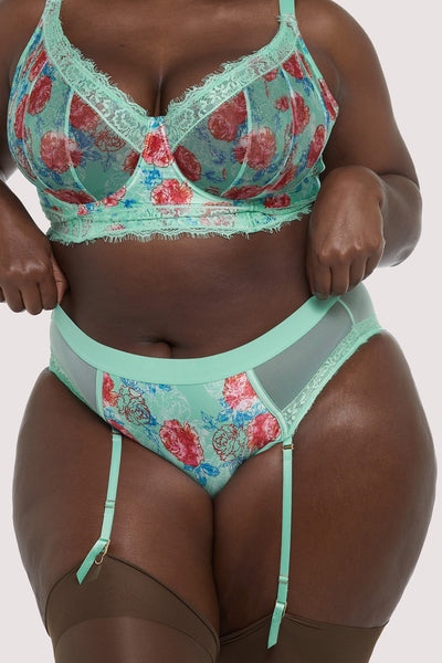 Felicity Hayward Sabey Mint Floral High Waist Curve Brief
