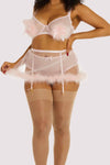 Gabi Fresh Marina Pink  Feather Suspender Belt