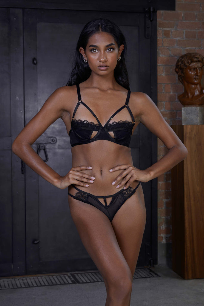 Hustler Daisy Black Embroidery Cut Out Bra