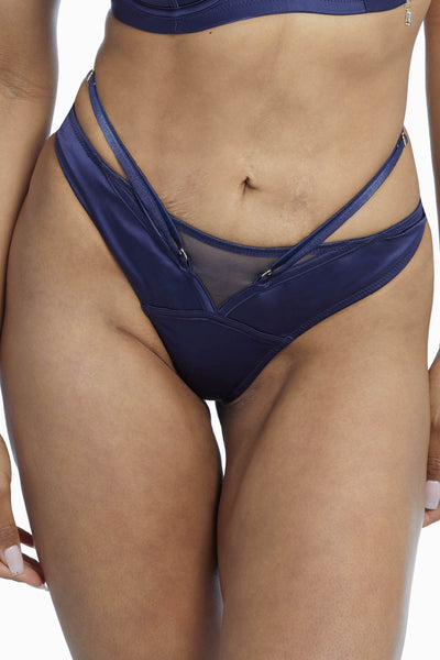 Philly Navy Tulip Satin Thong