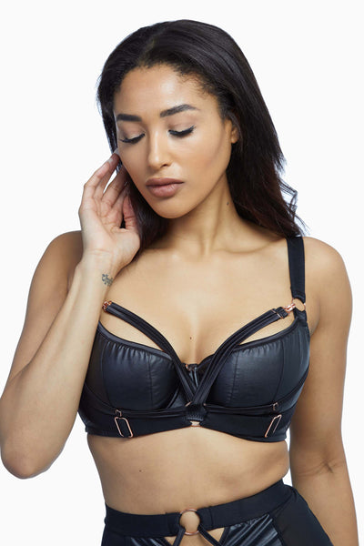 Scantilly Black Harnessed Padded Half Cup Bra
