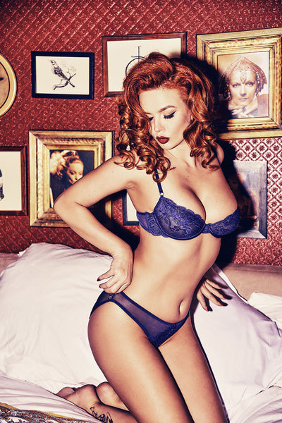 Sadie Midnight Blue Lace Bra A-D Cups