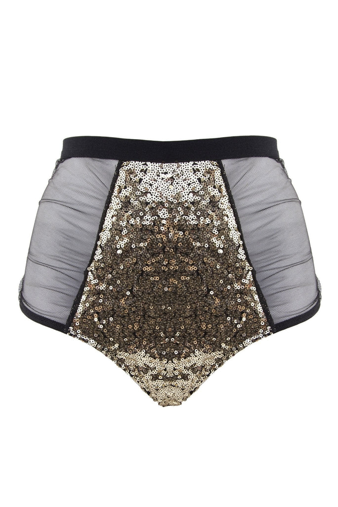 high waist gold and black sequin brief