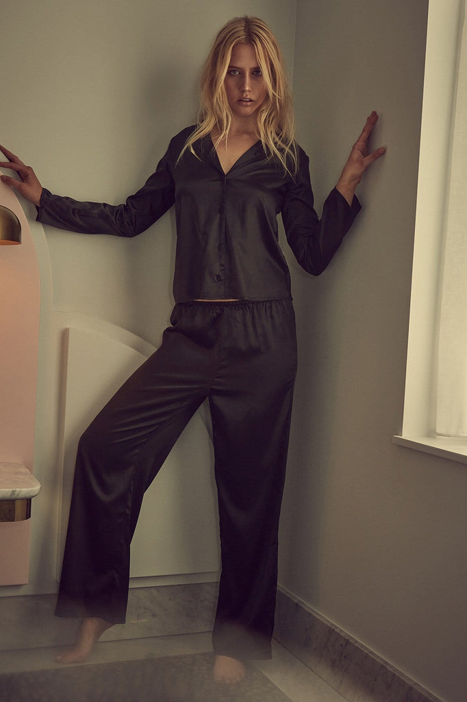 Wolf & Whistle Black satin pyjamas