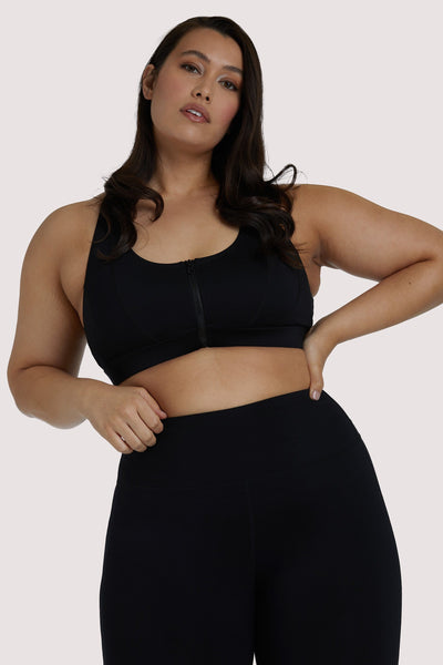 Wolf & Whistle Black Zip Front Curve Bra