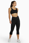 Wolf & Whistle Cropped Leggings with Crossover Waistband Black