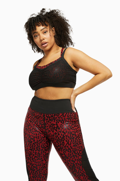 Wolf & Whistle Dark Red and Black Leopard Wet Look Sports Bra Curve
