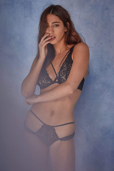 Wolf & Whistle Abi Black lace cut out brief