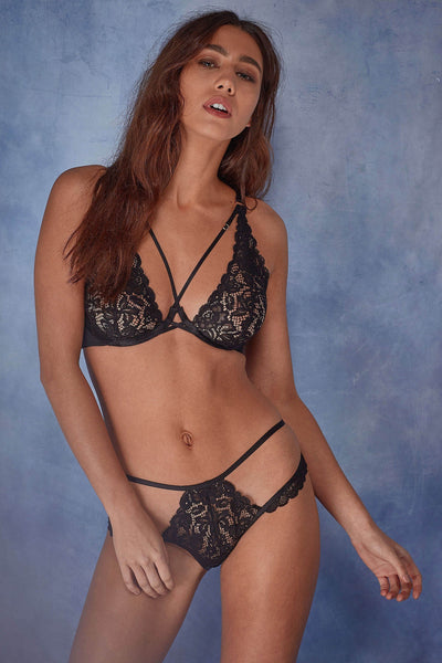 Wolf & Whistle Abi Black high apex lace bra B - G