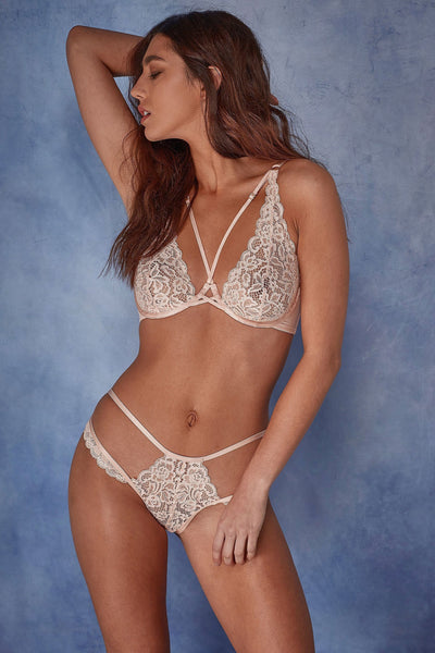 Wolf & Whistle Abi Peach high apex lace bra B - G