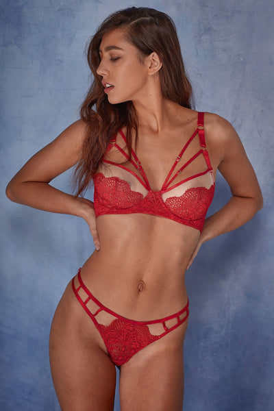 Wolf & Whistle Hollie red lace strappy bra B - G