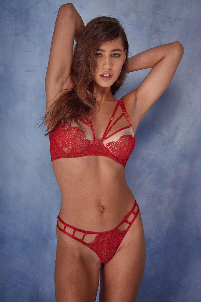 Wolf & Whistle Hollie red strappy brazilian brief