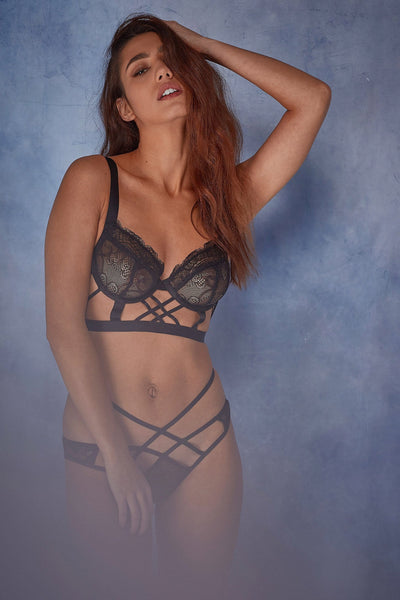 Wolf & Whistle Assa lace cut out longline bra B - G
