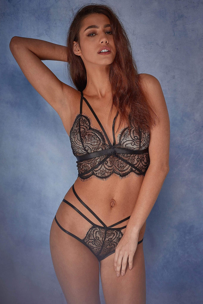 Wolf & Whistle Tanja black lace strappy soft cup bra