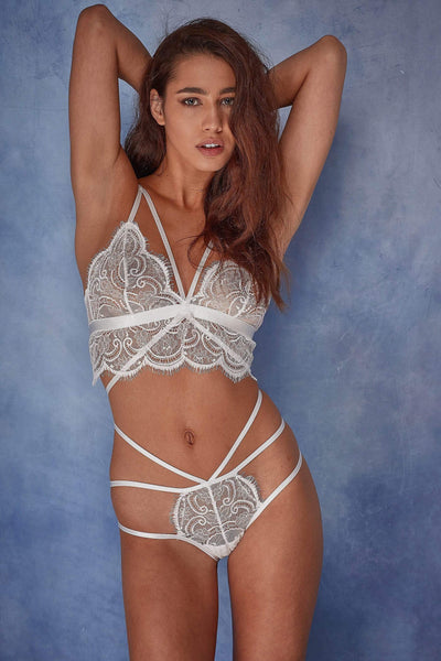 Wolf & Whistle Tanja white lace strappy brief