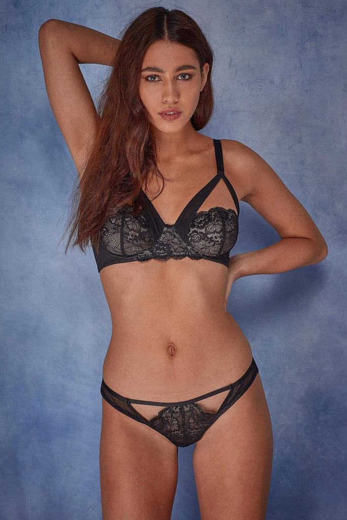 Wolf & Whistle Phoebe Lace and mesh overlay bra B - G