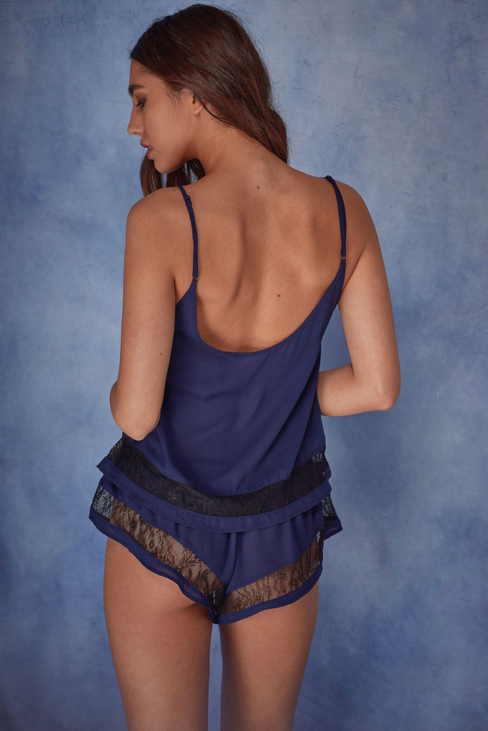 Wolf & Whistle Nicole Navy Lace Panel PJ Set