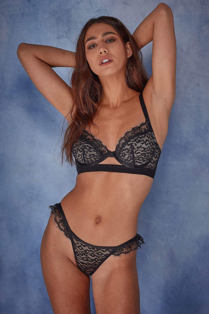 Wolf & Whistle Jenna Leopard Mesh Bra B - G Seconds