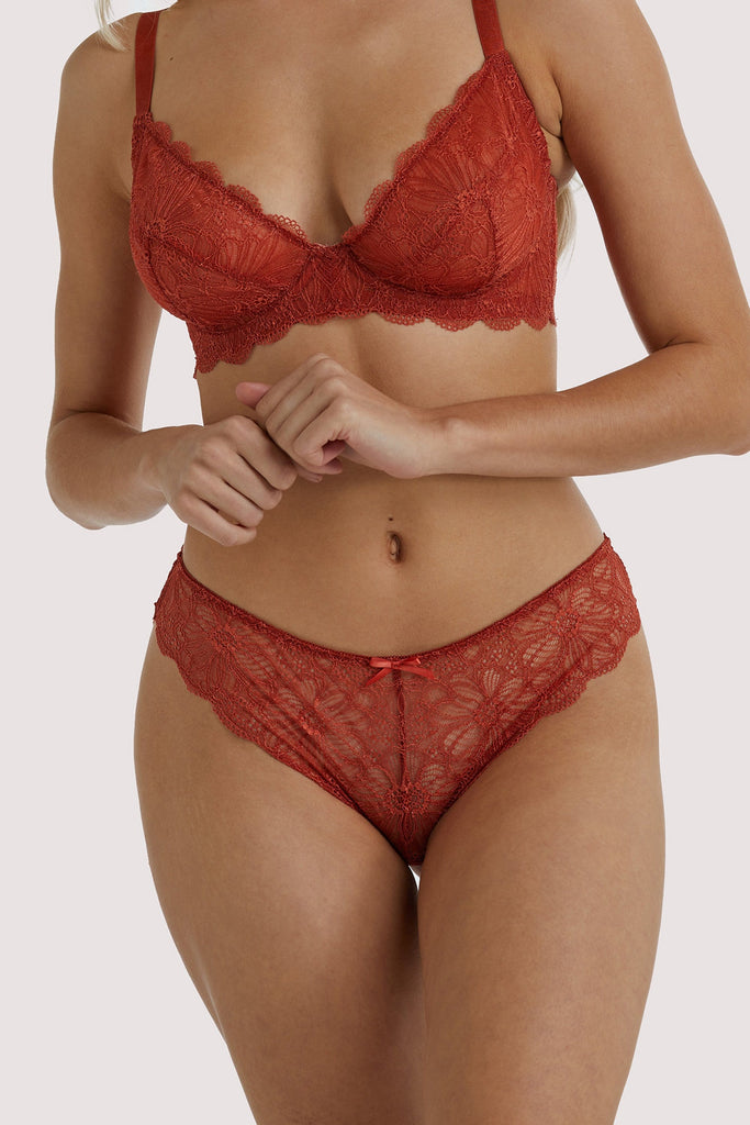 Wolf & Whistle Ariana Intense Rust Everyday Lace Brief