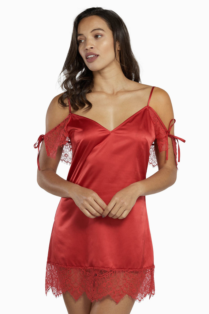 Wolf & Whistle Adrienne Red Lace Trim Slip Dress