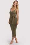 Wolf & Whistle Lounge Khaki Knitted Rib Dress
