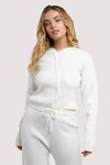 Wolf & Whistle Lounge Ivory Knitted Rib Cropped Hoodie