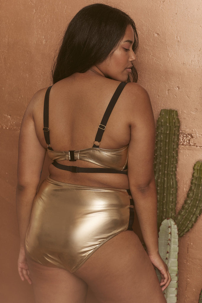 Wolf & Whistle Jett Gold metallic cut out high waist brief curve