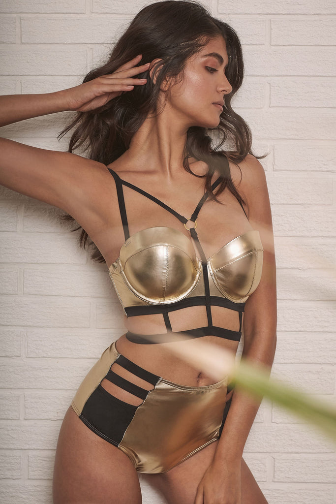 Wolf & Whistle Jett Gold metallic cut out high waist brief