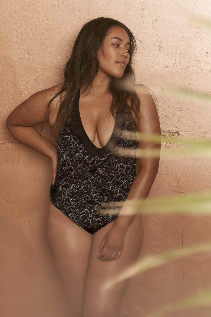 Wolf & Whistle Leah Gold lace front plunge swimsuit curve