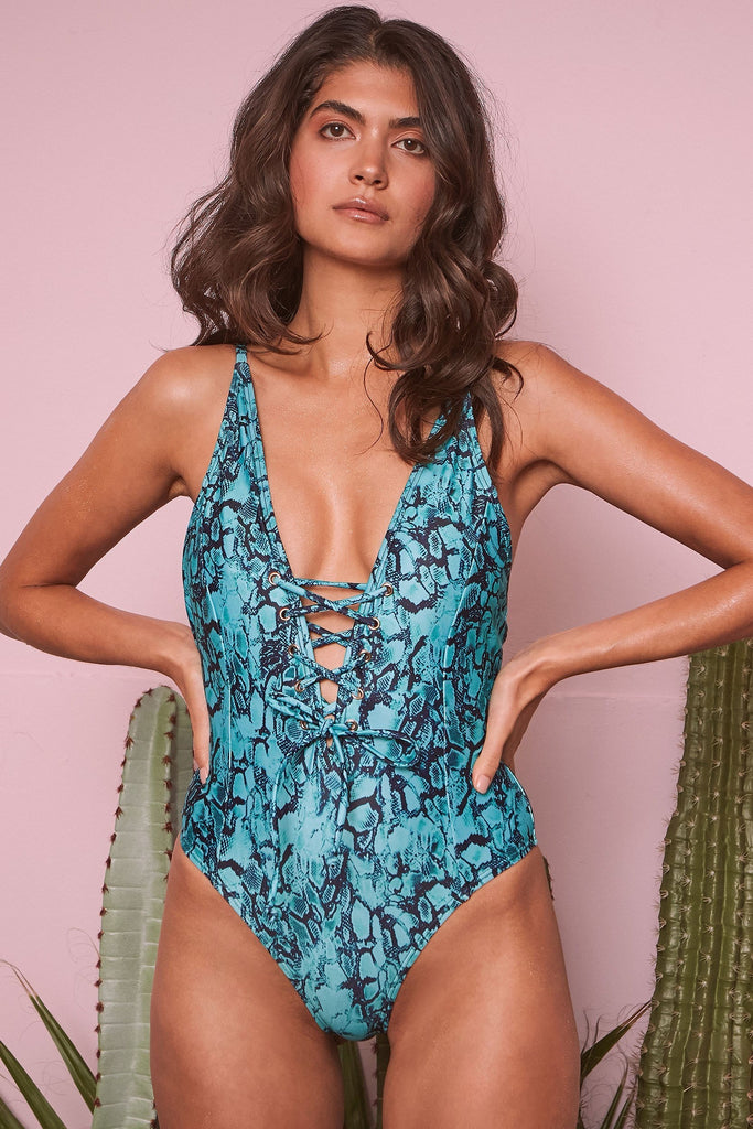 wolf & whistle snake print swimsuit green